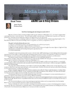 Media Law Notes Summer 2018(1) – Law and Policy Division
