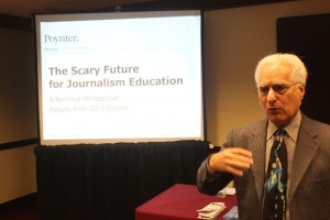 "Howard Finberg of The Poynter Institute talks about ""The Scary Future for Journalism Education,"" offering a personal perspective on data from a recent survey."