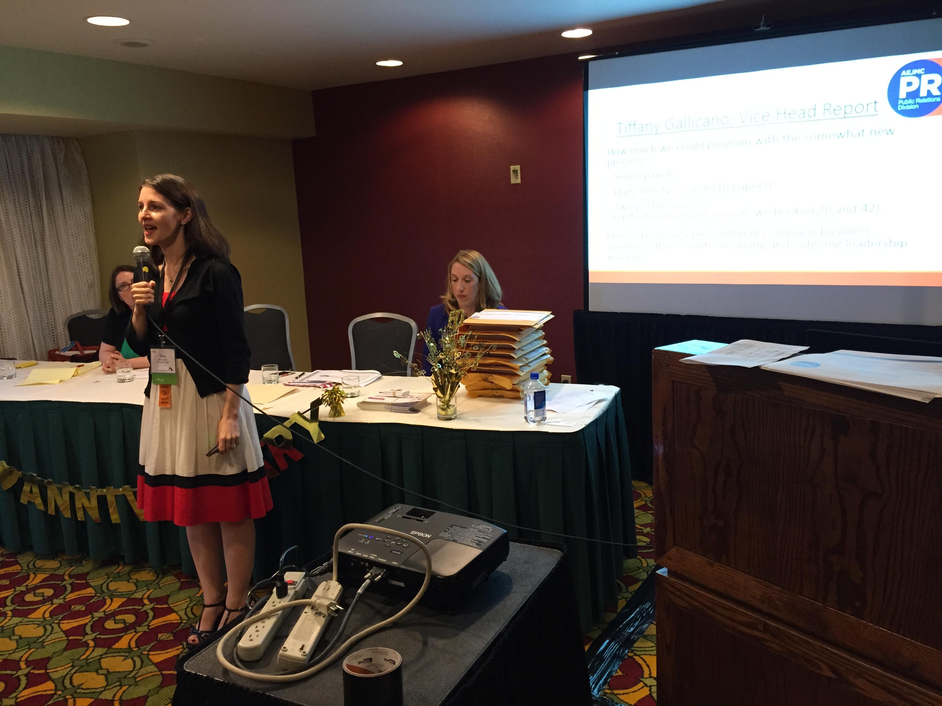 PRD Head Dr. Tiffany Gallicano addresses membership at the 2015 division meeting