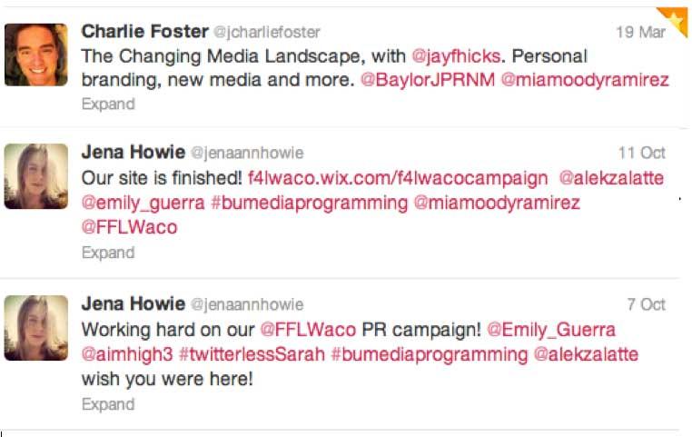 screenshot of three tweets