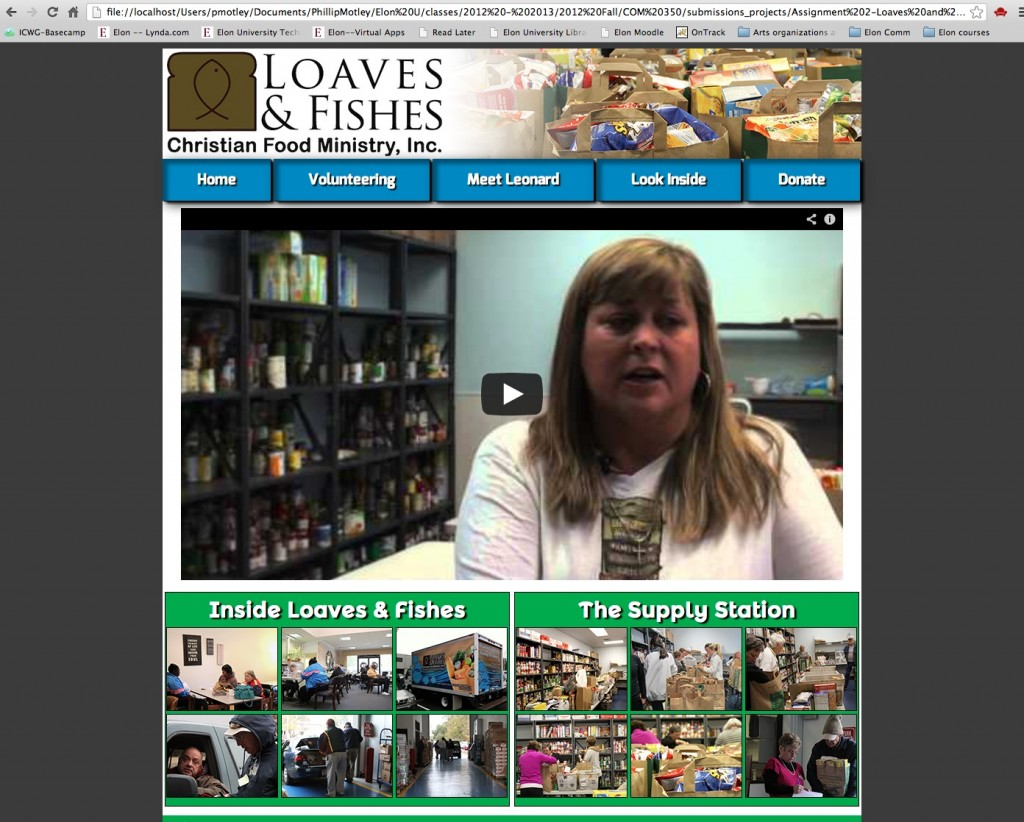 Screenshot of Loaves & Fishes website