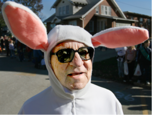 man in sunglasses and bunny suit